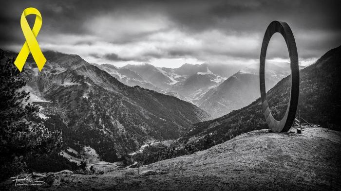 Arcalís 91 escultura de M. Staccioli. Ordino (Andorra) B&W b