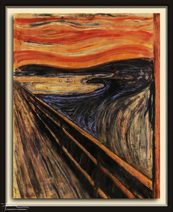 """A partir de """"El crit"""", d'Edvard Munch. Oli i pastel sobre cartró, 91 x 73,5 cm."""